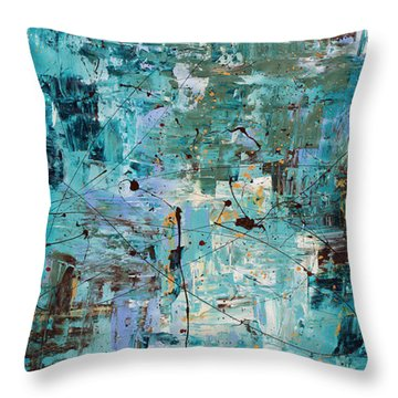Throw Pillow featuring the painting Blue Ocean - Abstract Art by Carmen Guedez