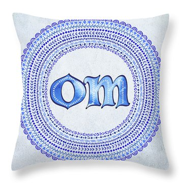 Throw Pillow featuring the painting Blue Om Mandala by Tammy Wetzel
