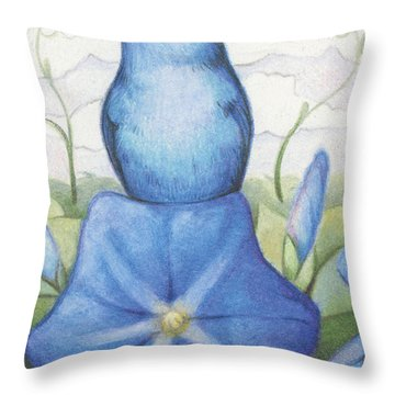 Blue On Blue Throw Pillow by Amy S Turner