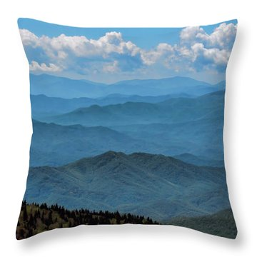 Blue On Blue - Great Smoky Mountains Throw Pillow by Nikolyn McDonald