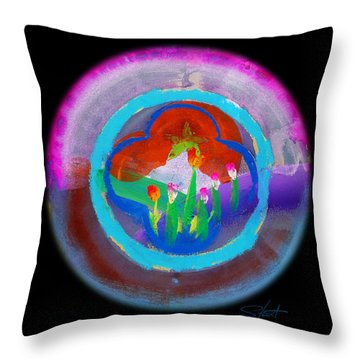 Blue On Blue On Violet Throw Pillow by Charles Stuart