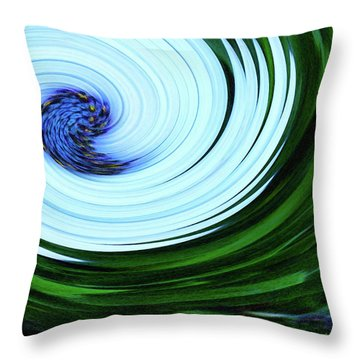 Blue On Flower Throw Pillow