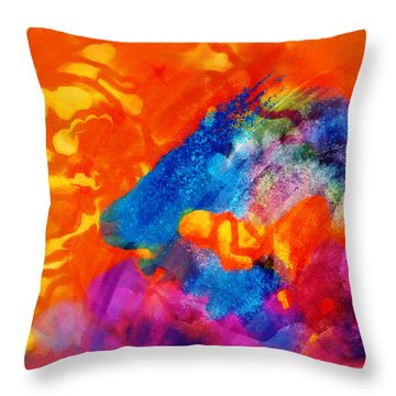 Throw Pillow featuring the digital art Blue On Orange by Antonio Romero