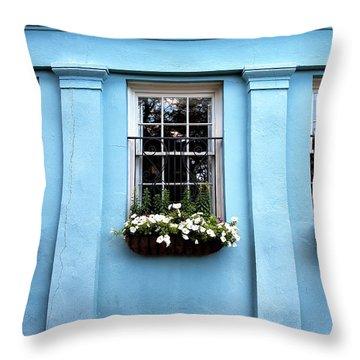Blue On Rainbow Row Throw Pillow