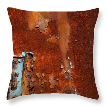 Throw Pillow featuring the photograph Blue On Rust by Karol Livote