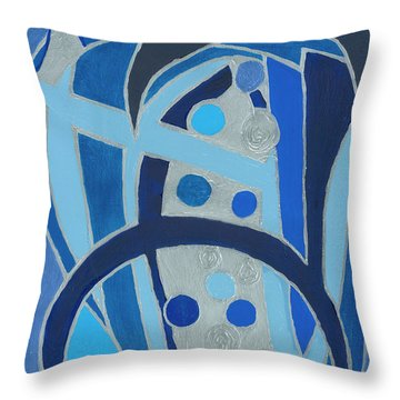 Throw Pillow featuring the painting Blue On Silver by Ania M Milo