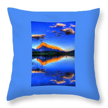 Blue Orange Mountain Throw Pillow by Test Testerton