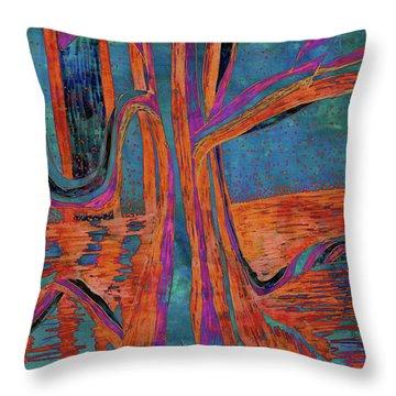 Blue-orange Warm Dusk River Tree Throw Pillow