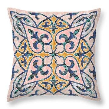 Blue Oriental Tile 01 Throw Pillow