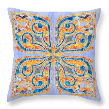 Blue Oriental Tile 02 Throw Pillow