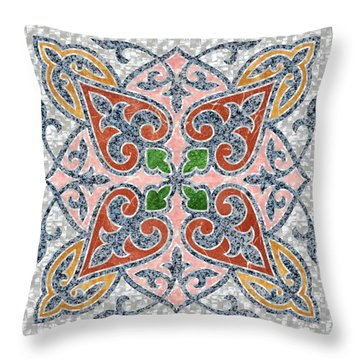Blue Oriental Tile 03 Throw Pillow