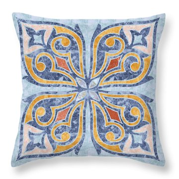 Blue Oriental Tile 04 Throw Pillow
