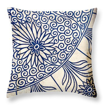 Blue Oriental Vintage Tile 01 Throw Pillow