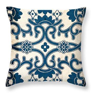 Blue Oriental Vintage Tile 02 Throw Pillow