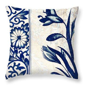 Blue Oriental Vintage Tile 03 Throw Pillow