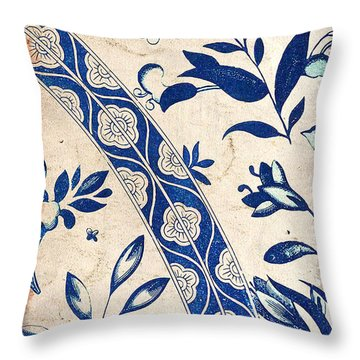 Blue Oriental Vintage Tile 04 Throw Pillow