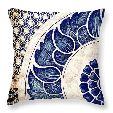 Blue Oriental Vintage Tile 05 Throw Pillow
