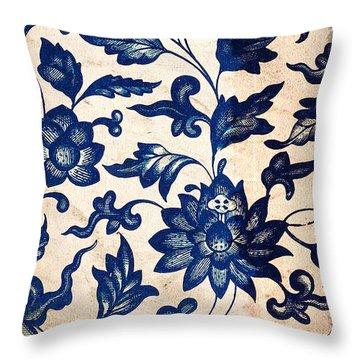 Blue Oriental Vintage Tile 06 Throw Pillow