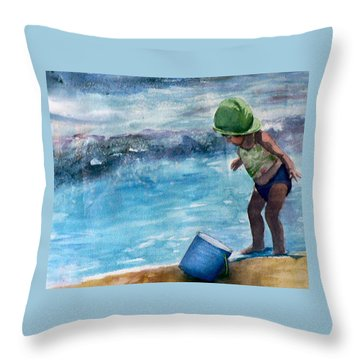 Blue Pail Throw Pillow