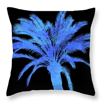 Blue Palm Tree Throw Pillow by Andrea Mazzocchetti