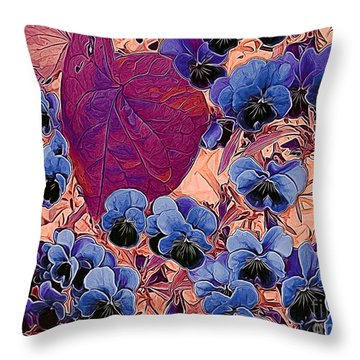 Blue Pansies Throw Pillow by Erica Hanel