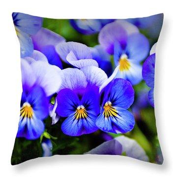 Blue Pansies Throw Pillow by Tamyra Ayles