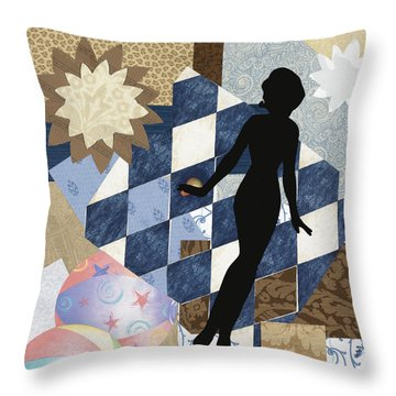 Blue Paper Doll Throw Pillow