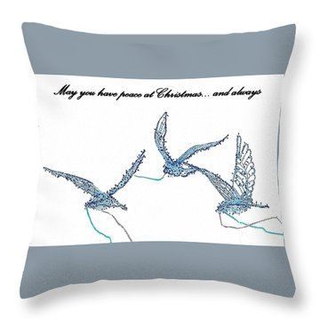Throw Pillow featuring the photograph Blue Peace Doves by Ellen O'Reilly