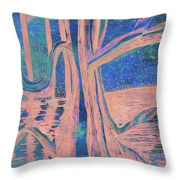 Blue-peach Dawn River Tree Throw Pillow