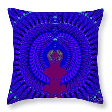 Blue Peacock Fractal 92 Throw Pillow