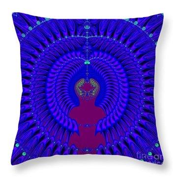 Blue Peacock Fractal 92 Throw Pillow
