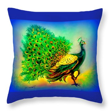 Blue Peacock Throw Pillow by Yolanda Rodriguez