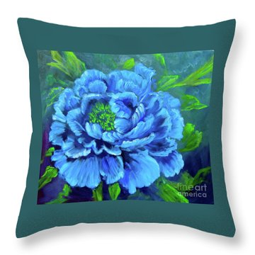 Blue Peony Jenny Lee Discount Throw Pillow