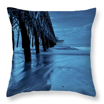 Blue Pier Throw Pillow by RC Pics