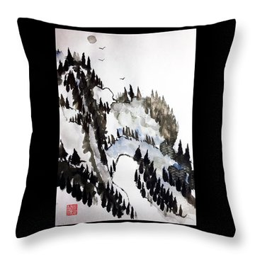 Blue Pine Ridge Throw Pillow