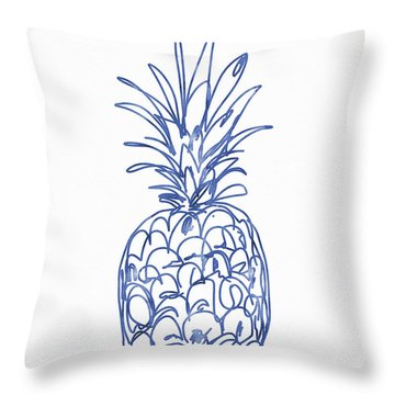 Blue Pineapple- Art By Linda Woods Throw Pillow