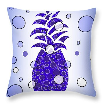 Blue Pineapple - Modern Food Art Throw Pillow