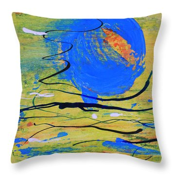 Blue Planet Abstract Throw Pillow