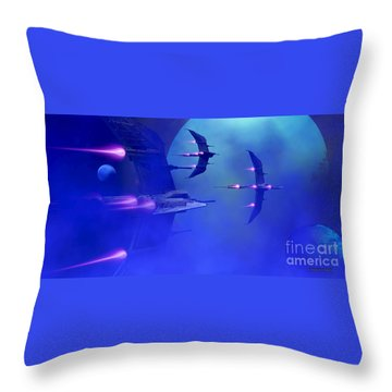 Blue Planet And Moons Throw Pillow by Corey Ford