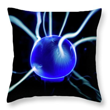 Throw Pillow featuring the photograph Blue Plasma by Tyson Kinnison