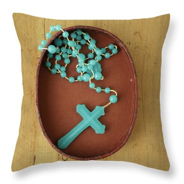 Blue Plastic Rosary In Oval Box Throw Pillow
