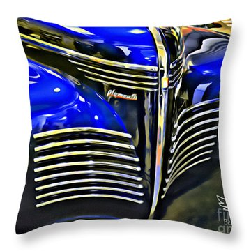 Throw Pillow featuring the photograph Blue Plymouth Coupe by Beauty For God