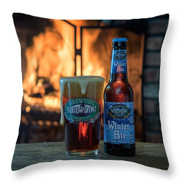 Blue Point Winter Ale By The Fire Throw Pillow by Rick Berk