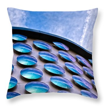 Blue Polka-dot Wave Throw Pillow