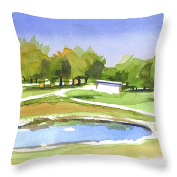 Throw Pillow featuring the painting Blue Pond At The A V Country Club by Kip DeVore