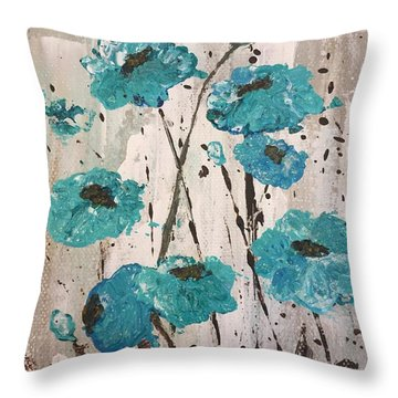 Blue Poppies Throw Pillow by Lucia Grilletto