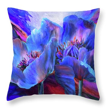 Throw Pillow featuring the mixed media Blue Poppies On Red by Carol Cavalaris