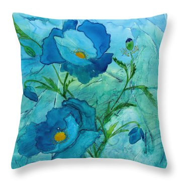 Blue Poppies, Watercolor On Yupo Throw Pillow