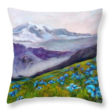 Blue Poppy Field Throw Pillow