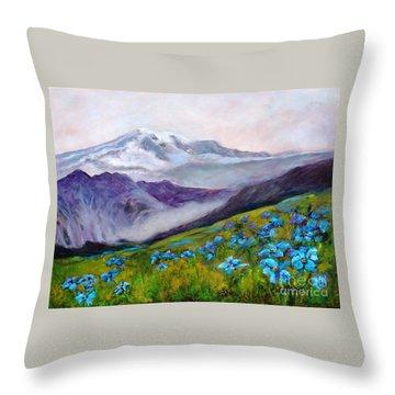 Blue Poppy Field Throw Pillow